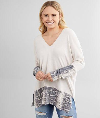 BKE Snake Print Split Neck Oversized Pullover