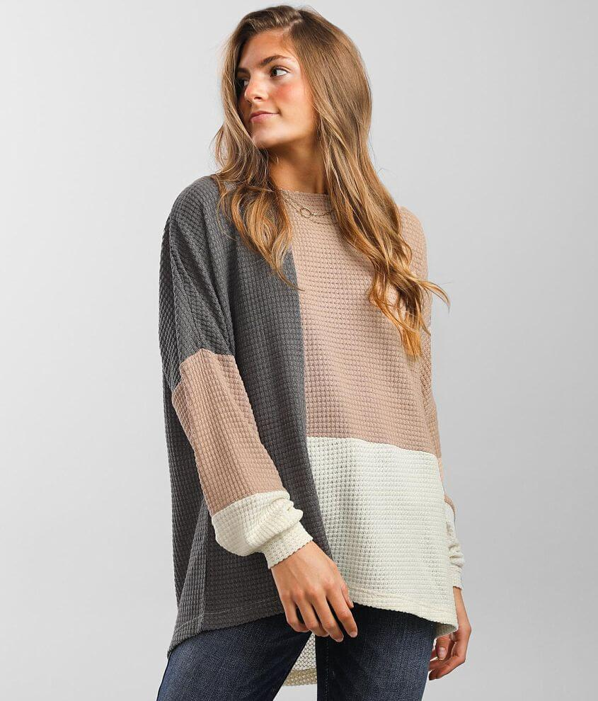 BKE Color Block Knit Top front view
