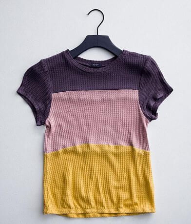Girls - Daytrip Color Block Waffle Knit Top
