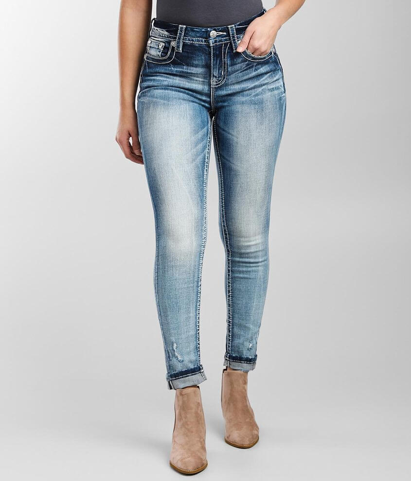 Miss Me Curvy Ankle Skinny Stretch Cuffed Jean front view