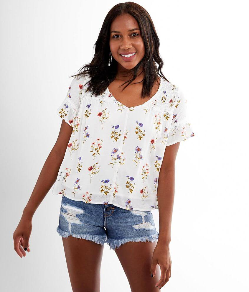 Miss Me Floral Flutter Sleeve Top front view