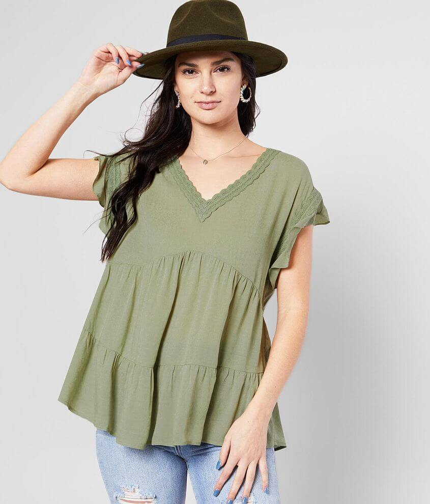 Miss Me Flutter Sleeve Top front view