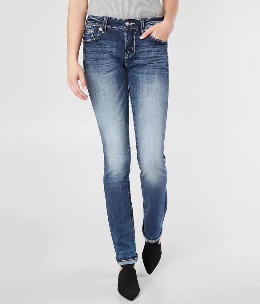 Miss Me Standard Straight Stretch Cuffed Jean front view
