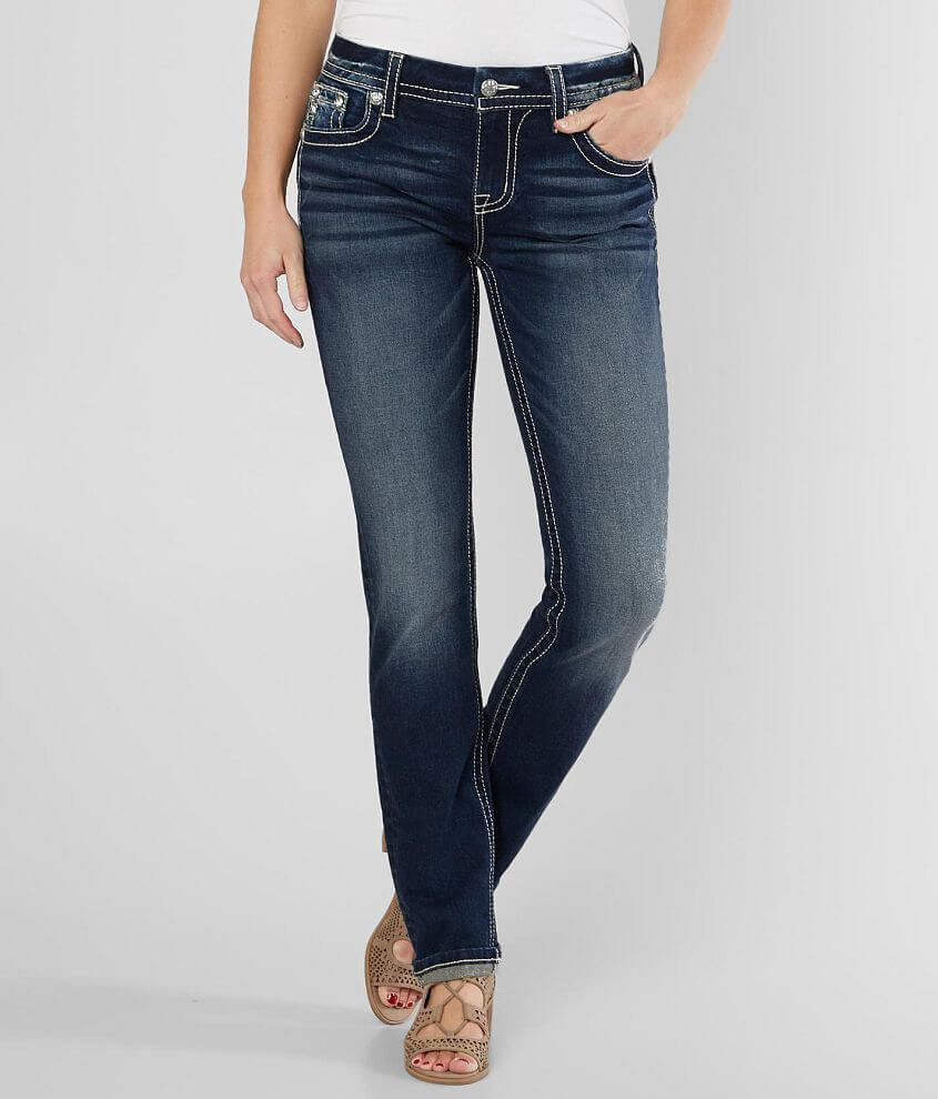 Miss Me Easy Straight Stretch Cuffed Jean front view