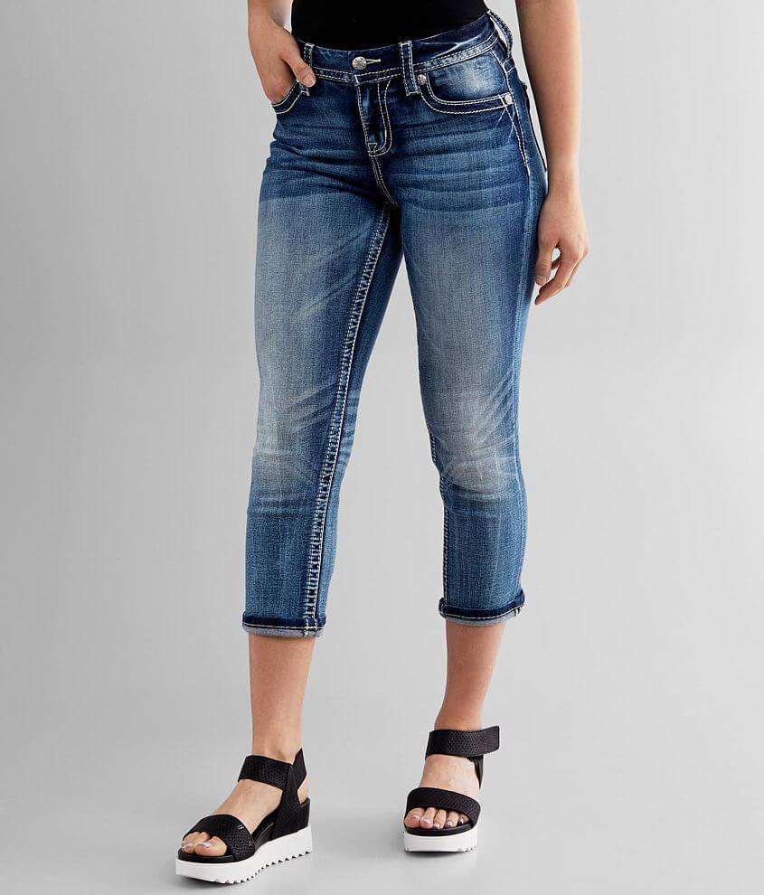 Miss Me Curvy Cuffed Stretch Cropped Jean front view
