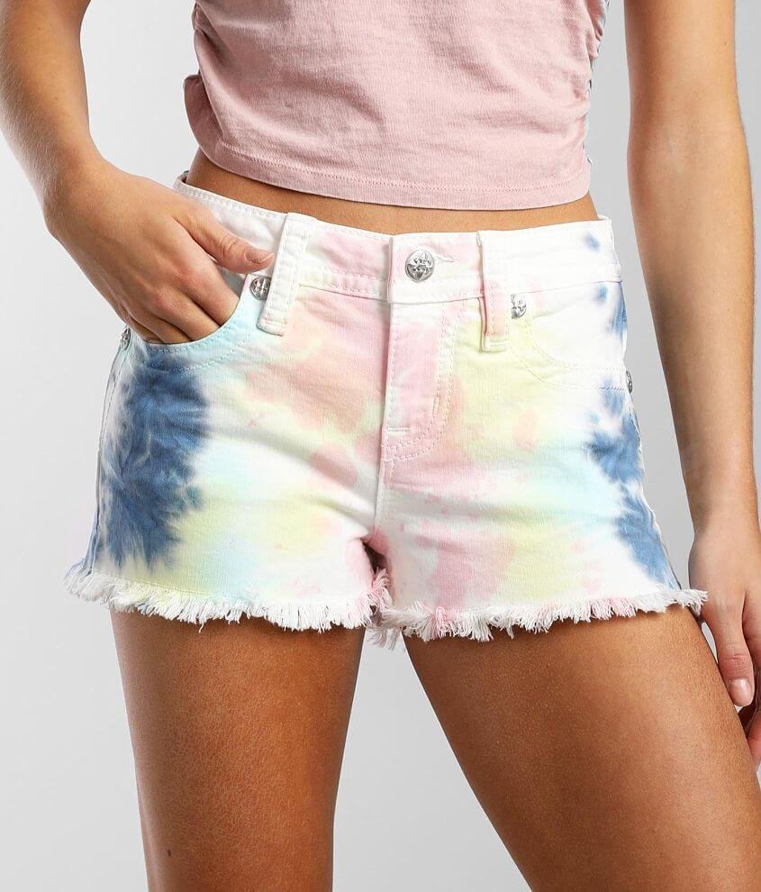 Miss Me Mid-Rise Tie Dye Stretch Short front view