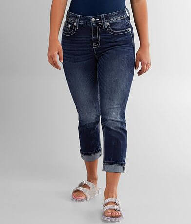 Miss Me Curvy Cropped Stretch Cuffed Jean