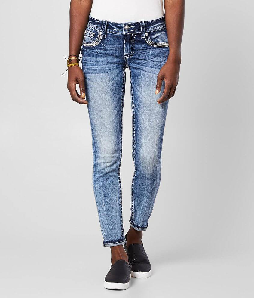 Miss Me Low Rise Ankle Skinny Stretch Cuffed Jean front view
