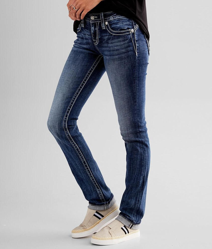 Miss Me Low Rise Straight Stretch Cuffed Jean front view