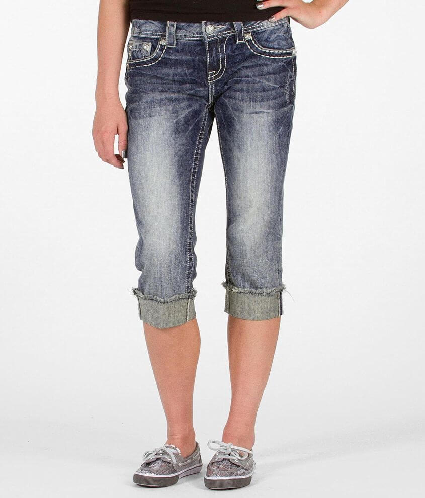 Miss Me Scroll Easy Stretch Cropped Jean front view