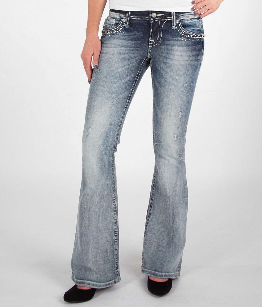 Miss Me Sequin Flare Stretch Jean front view
