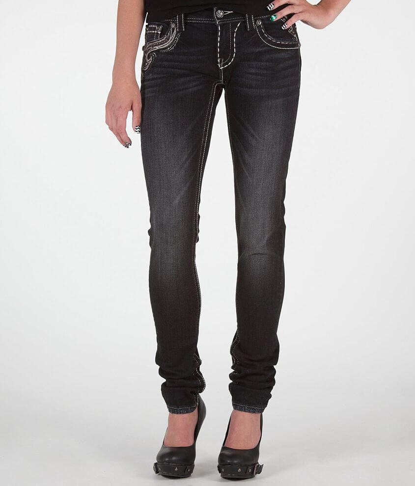 Miss Me Embroidered Skinny Stretch Jean front view