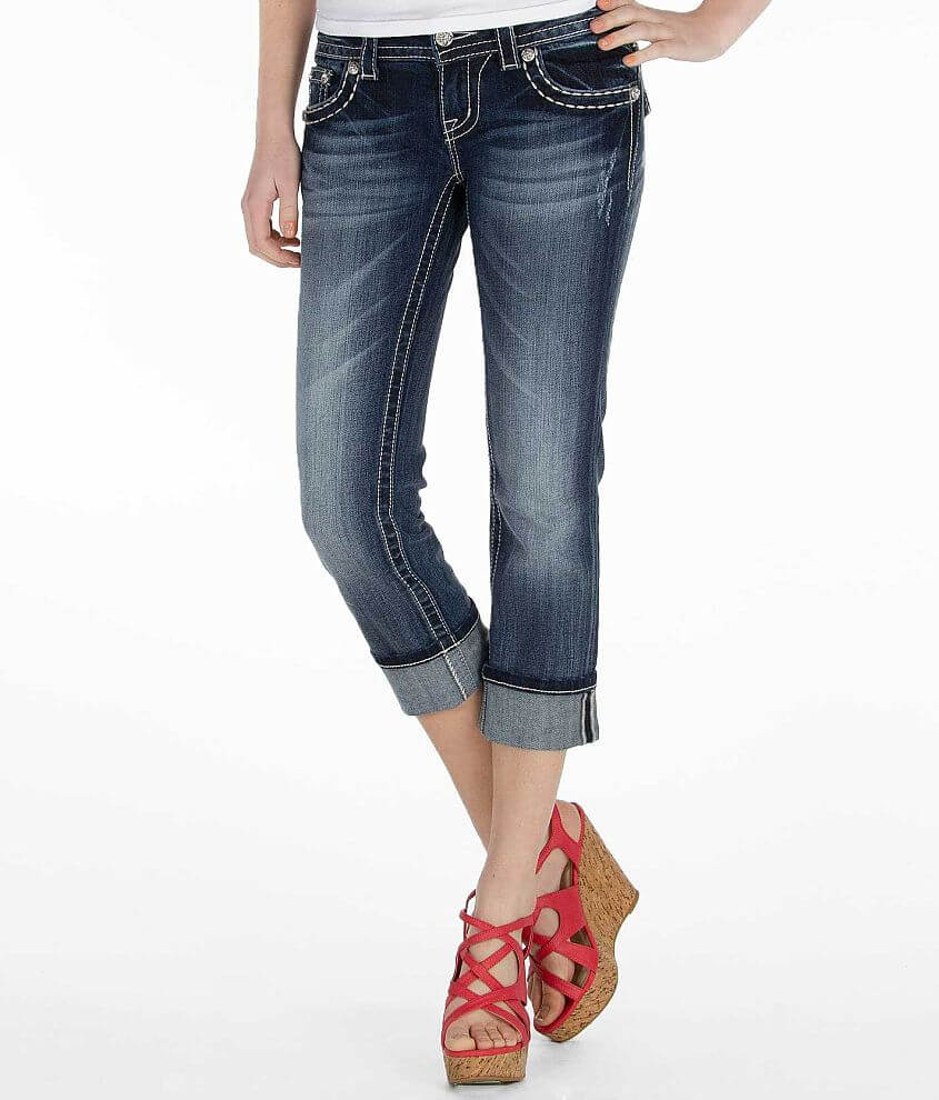 Miss Me Cuffed Cropped Jean front view
