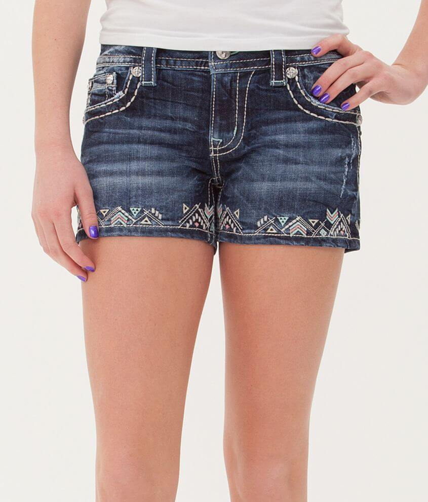 Miss Me Embroidered Stretch Short front view