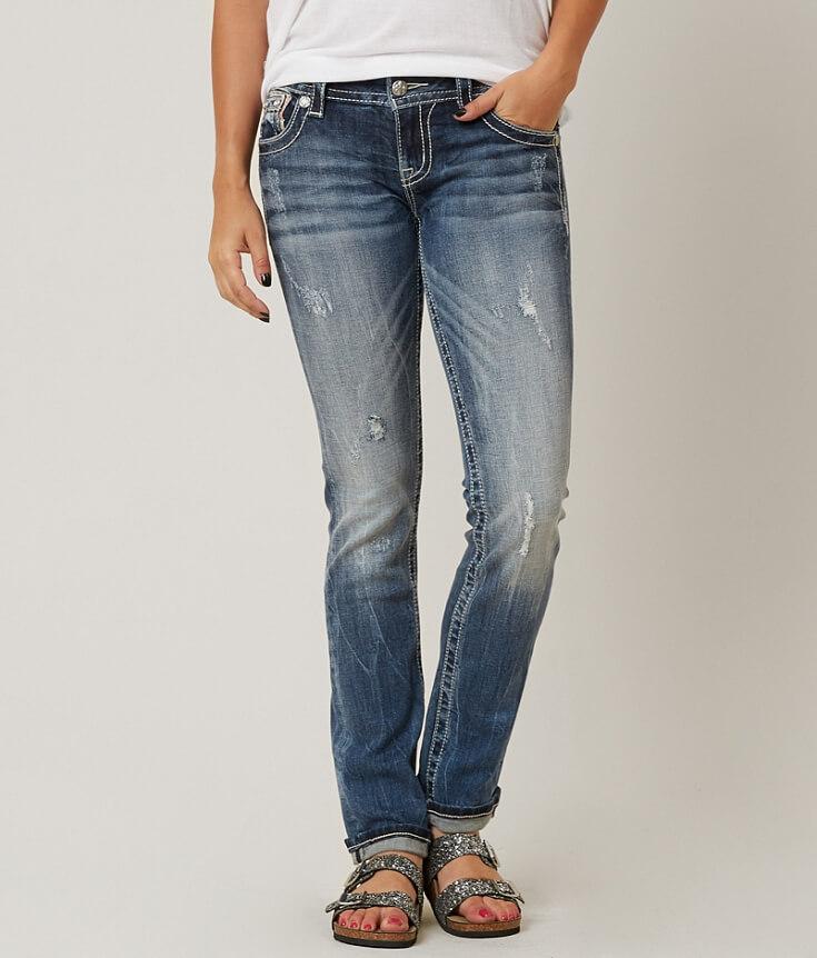 Miss Me Straight Stretch Cuffed Jean