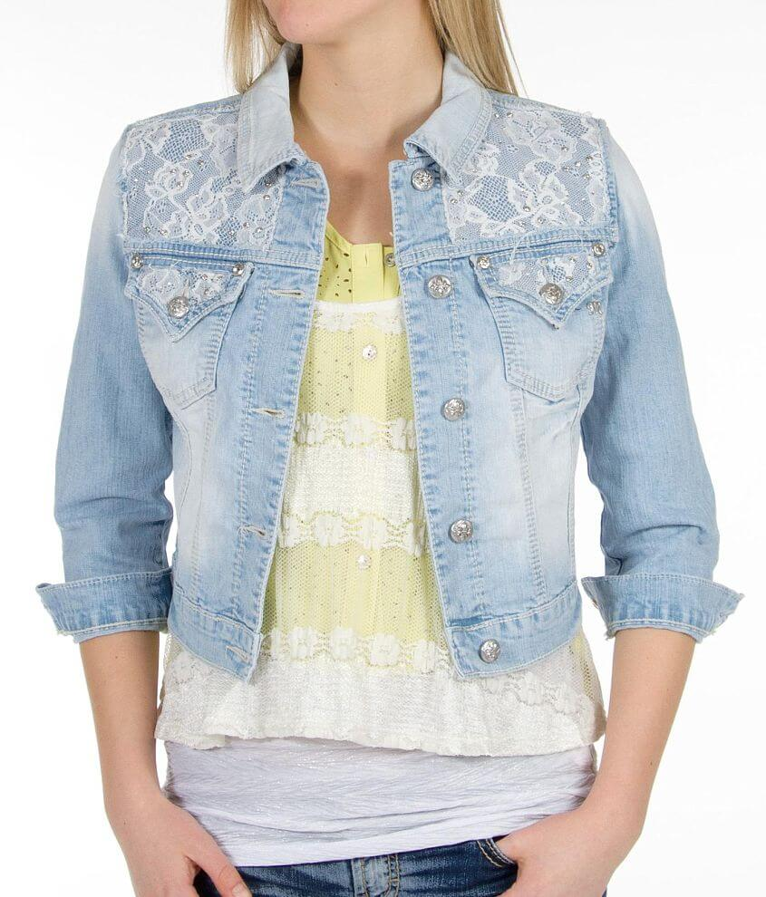Miss Me Cropped Denim Jacket front view