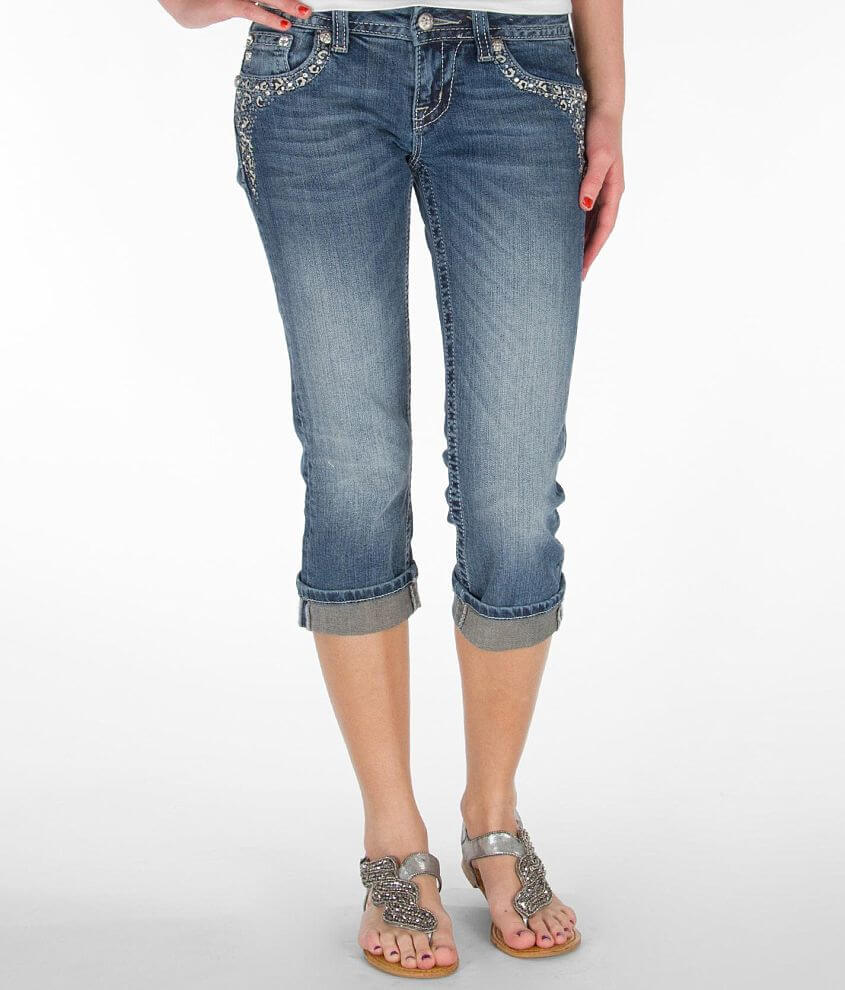 Miss Me Embroidered Cropped Stretch Jean front view
