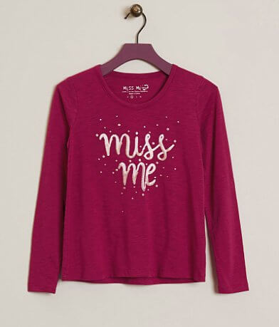 Girls - Miss Me Slub Fabric Top