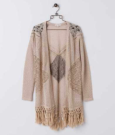 Miss Me Open Weave Cardigan Sweater