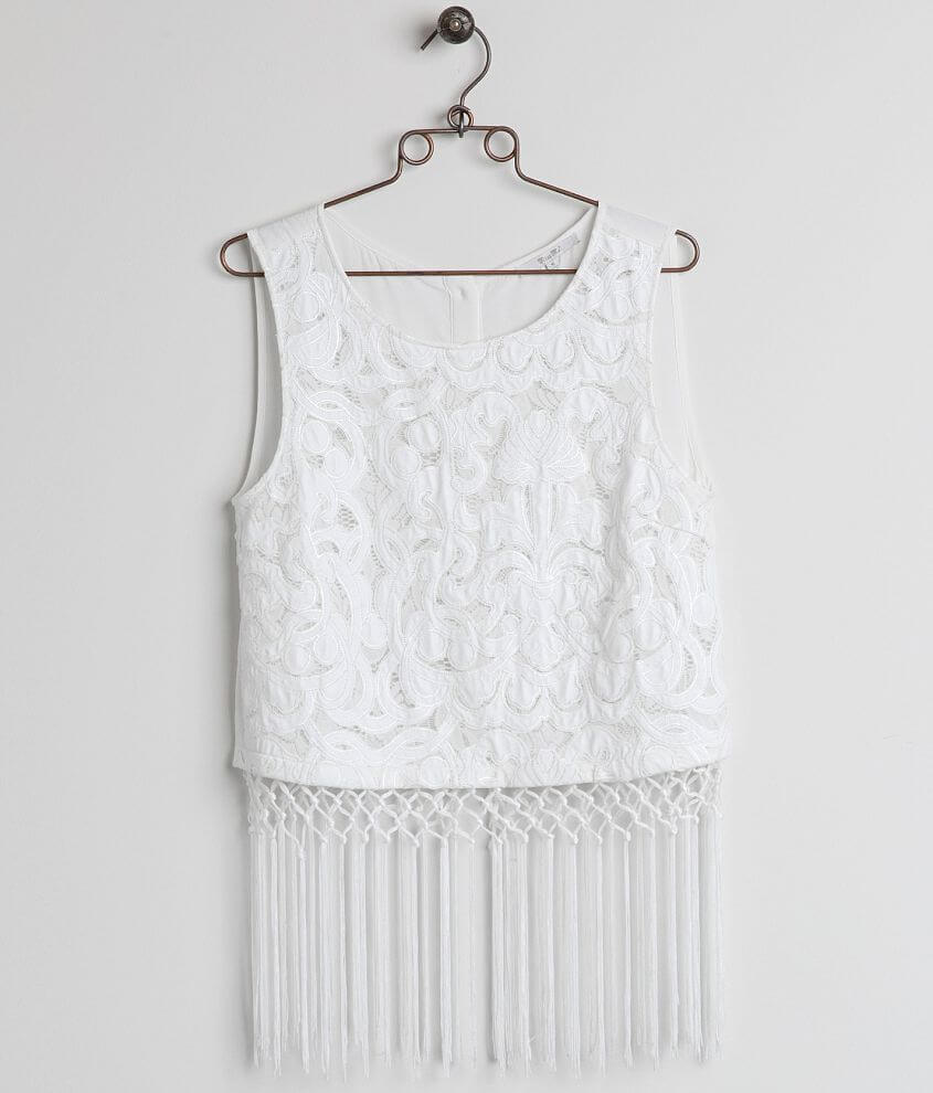 Miss Me Fringe Tank Top front view