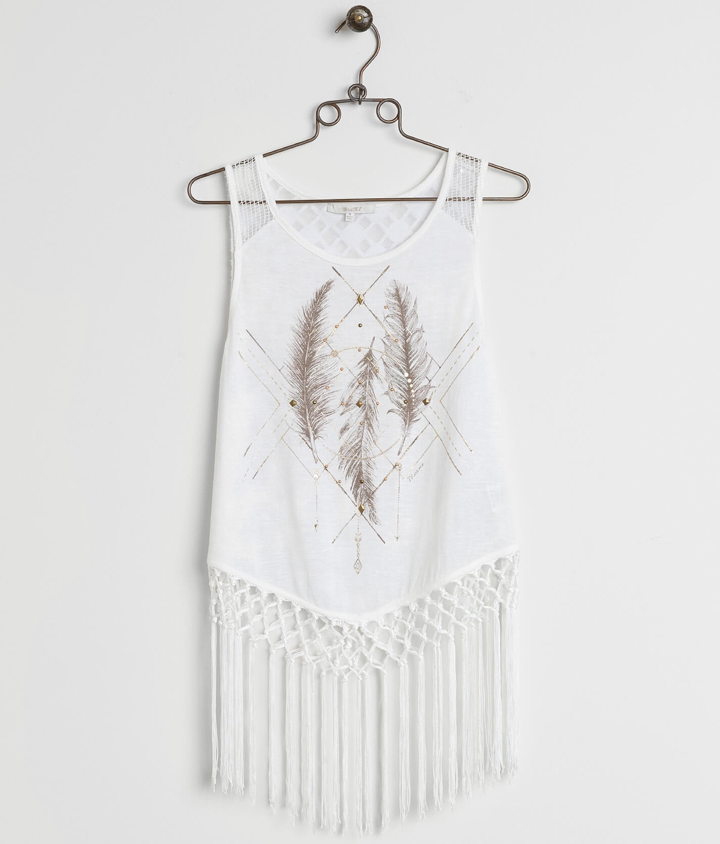 White Fringe Tank Dress