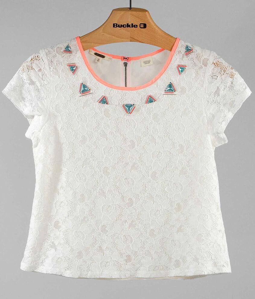 Miss Me Lace Overlay Top front view
