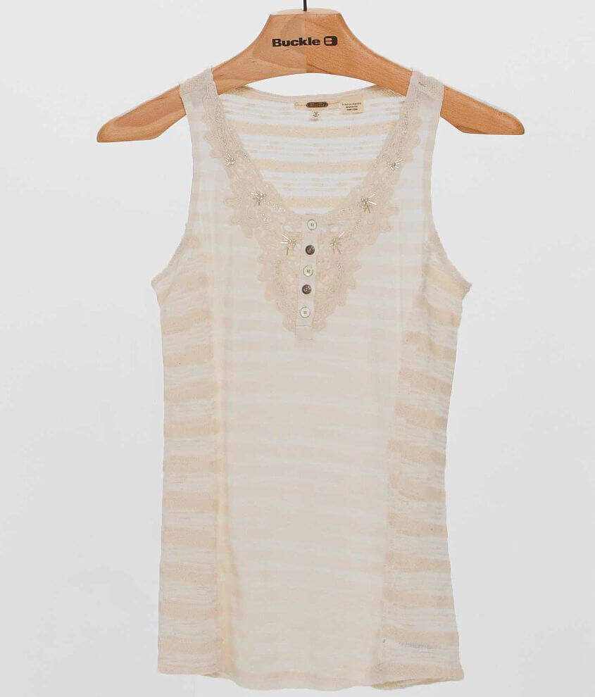 Miss Me Pieced Henley Tank Top front view