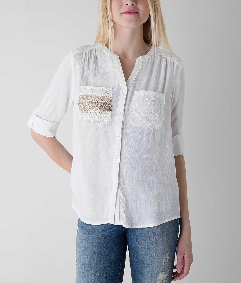 Miss Me Embroidered Shirt front view