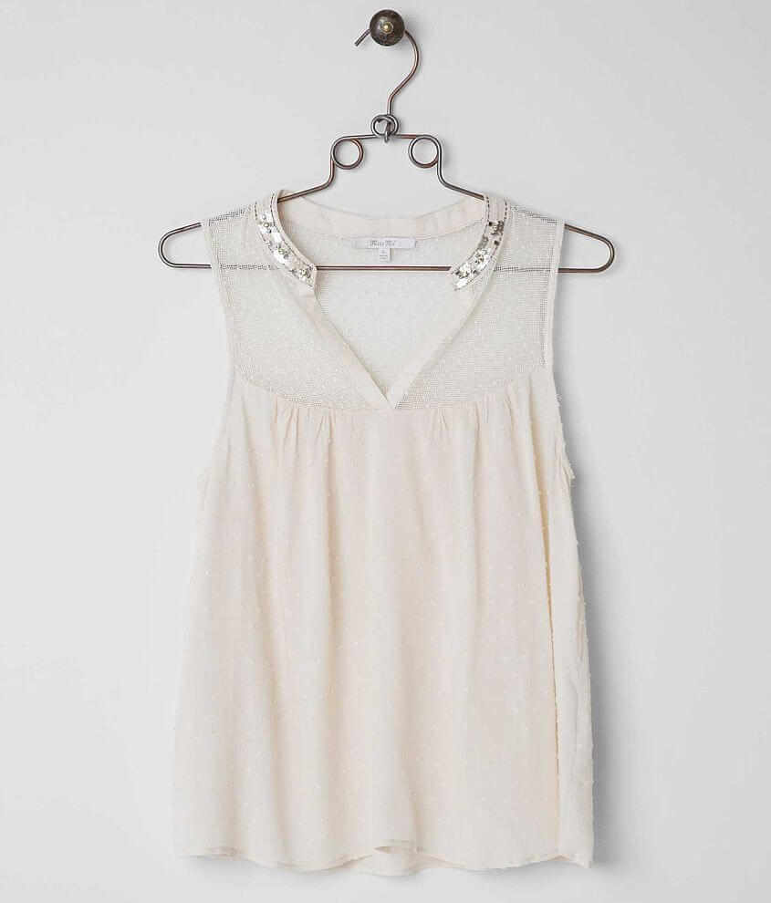 Miss Me Swiss Dot Sleeveless Top front view