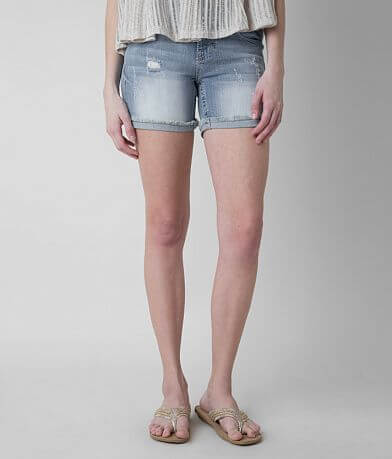 Miss Me Mid-Rise Frayed Stretch Short
