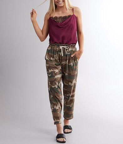 Miss Me Camo Cuffed Paperbag Pant