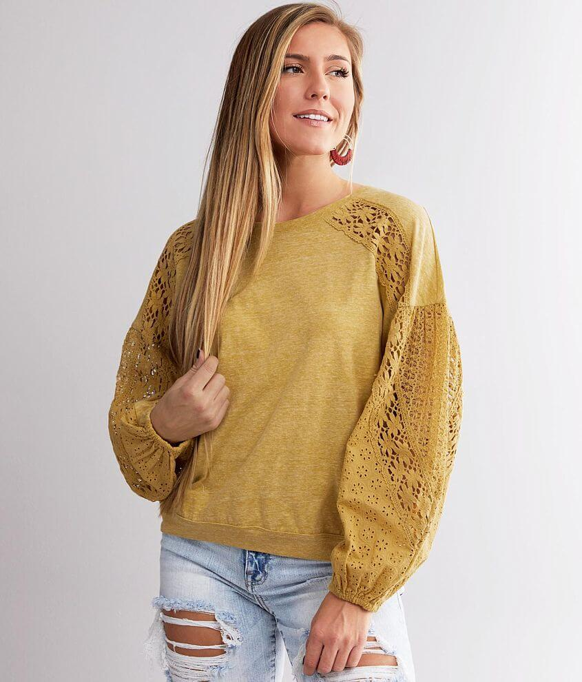 Miss Me Washed Knit Top front view
