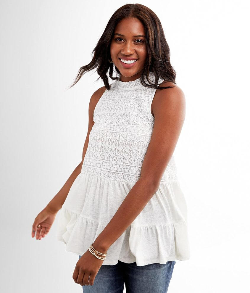 Miss Me Tiered High Neck Crochet Tank Top front view