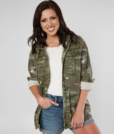 Miss Me Star Embroidered Camo Jacket