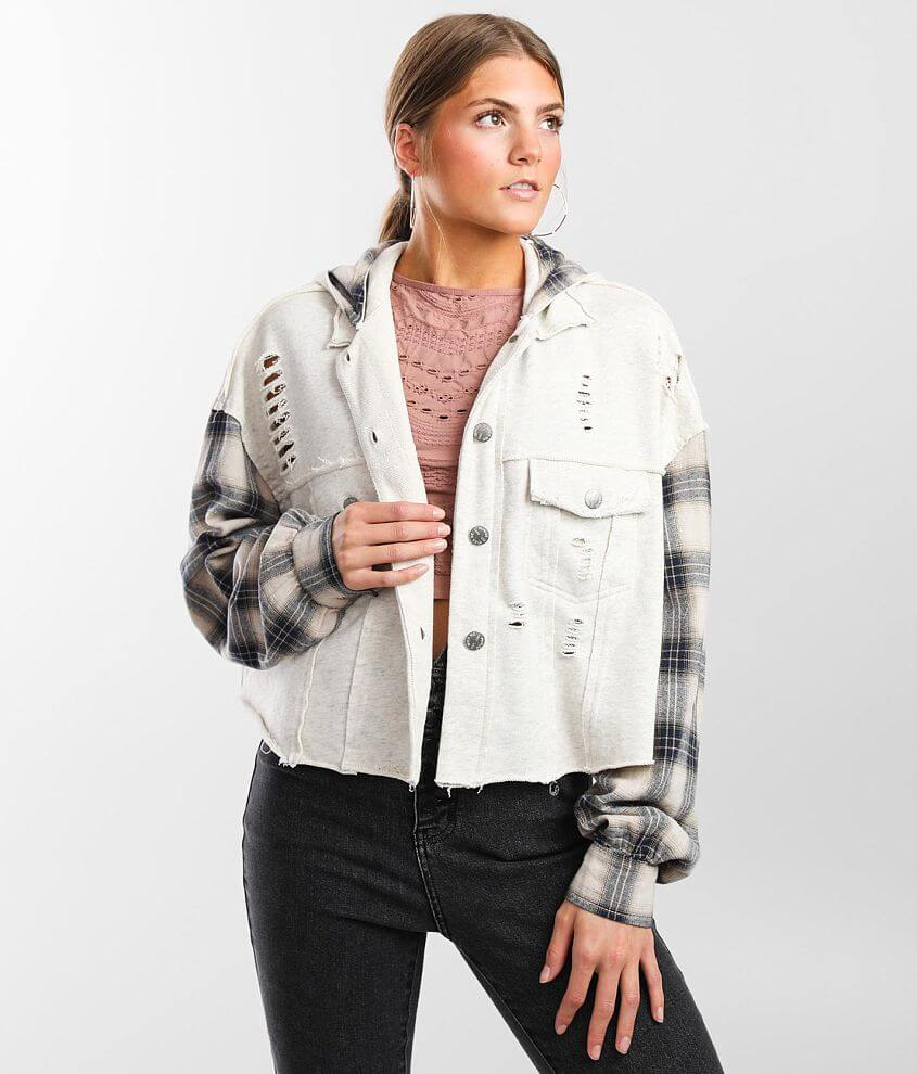 Miss Me Pieced Flannel Hooded Jacket front view