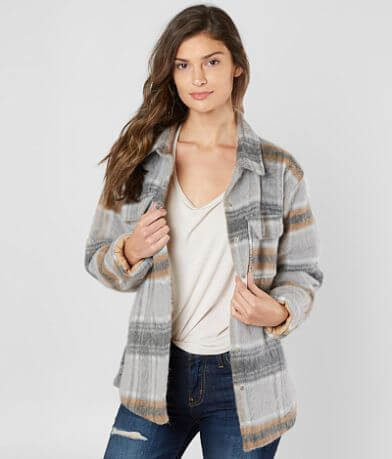 Miss Me Plaid Wool Blend Jacket