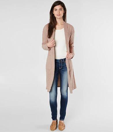 Miss Me Ribbed Fleece Cardigan Sweater