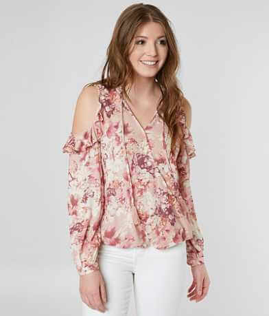 Miss Me Floral Surplice Blouse