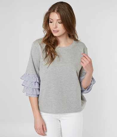 Miss Me Ruffle Heathered Sweatshirt