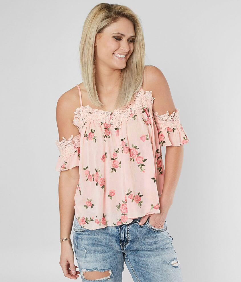 d41025b36594b Miss Me Floral Cold Shoulder Top - Women s Shirts Blouses in Pink ...