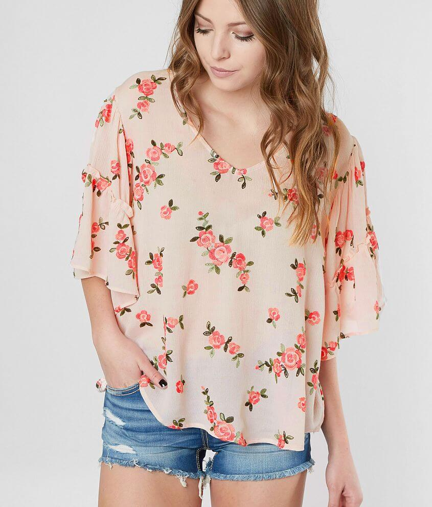 Miss Me Embroidered Floral Top front view