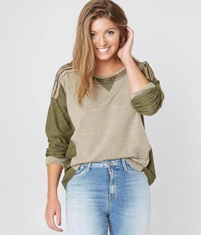 Miss Me Embellished Color Block Sweatshirt