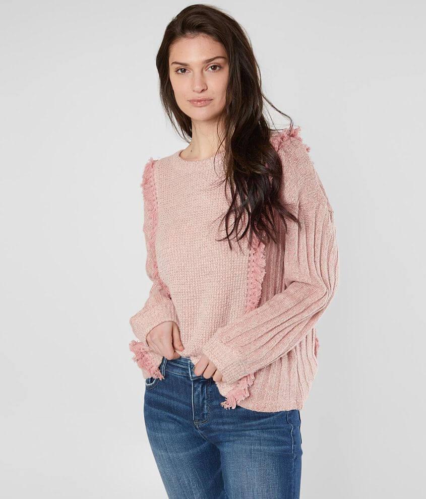 Wool blend drop shoulder sweater Crochet and fringe appliques Bust measures 40\\\