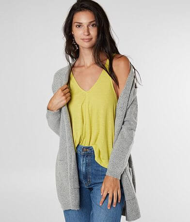 Miss Me Fuzzy Knit Drop Shoulder Cardigan Sweater
