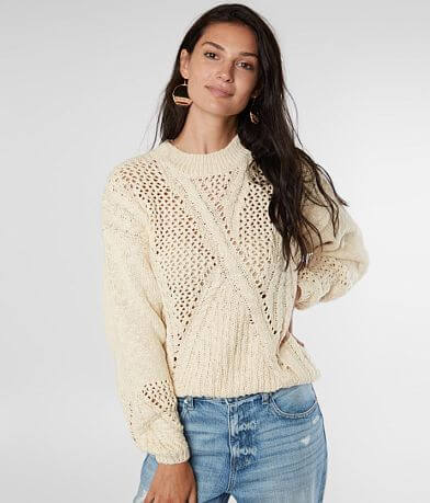 Miss Me Open Weave Cable Knit Sweater