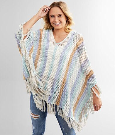 Miss Me Open Weave Hooded Sweater Poncho