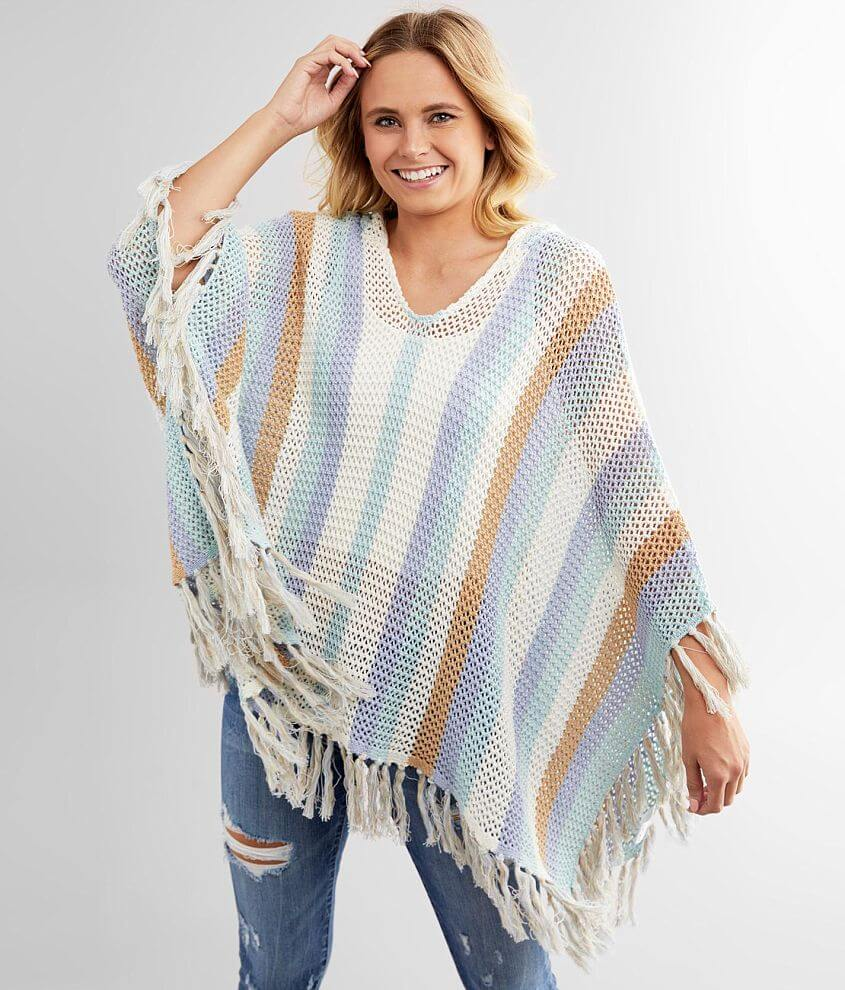 Miss Me Open Weave Hooded Sweater Poncho front view