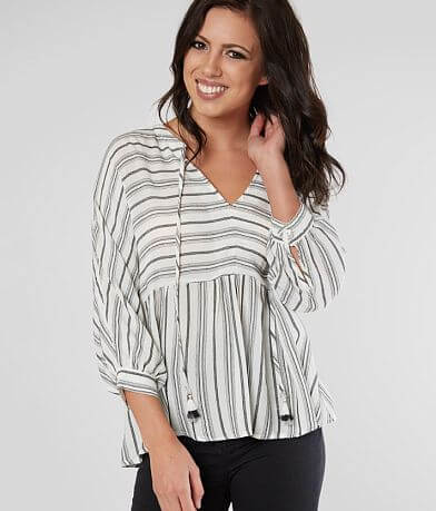 Miss Me Striped Ruffle Blouse