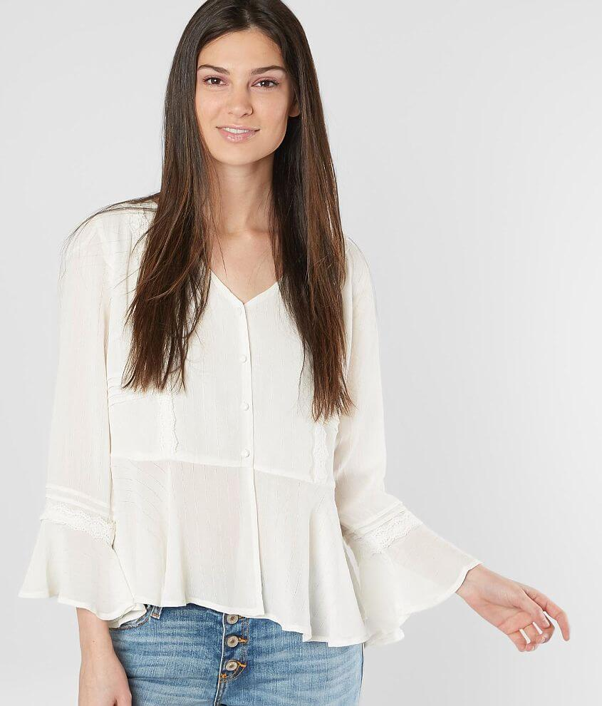 Miss Me Embroidered Chiffon Blouse front view