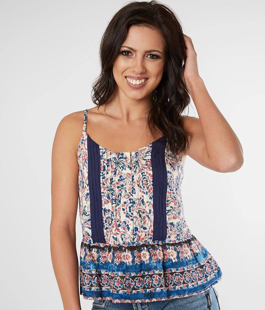 Miss Me Pleated Floral Tank Top front view